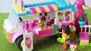 getlinkyoutube.com-Toy ice cream truck Lego Friends Elsa Anna have chocolate strawberry Ice Cream playset