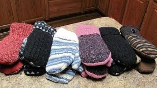 getlinkyoutube.com-Make mittens from old sweaters - Fast and Easy!