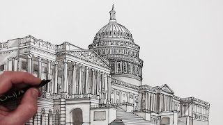 getlinkyoutube.com-How to Draw Buildings: The United States Capitol Building