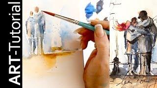 getlinkyoutube.com-Aquarell auf Leinwand mit Aquarellstiften von  Faber-Castell. Tutorial von zAcheR-fineT