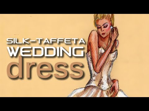 Fashion Design Drawing Lesson #8 Silk Taffeta Wedding Dress Tutorial