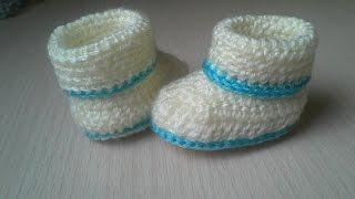 كروشيه هاف بوت بيبي - - crochet baby booties