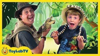 getlinkyoutube.com-Awesome Gators & Amazing Reptiles at Wildlife Park, Kids Family Fun Playground & Surprise Toys Hunt