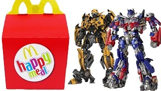 getlinkyoutube.com-TRANSFORMERS Happy Meal Surprise Toys Optimus Prime BumbleBee Transformers Eggs Boys