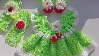 getlinkyoutube.com-Платье, вязанное крючком для девочки 6 9 месяцев