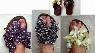 RAGS FLIP FLOPS, how to diy, dress up thongs with rags, recycle, repurpose, re-use, green project