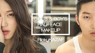 getlinkyoutube.com-MAKEUP | [男妝與女妝] Girls&Boys Half Face Makeup - RickyKAZAF