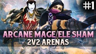 ARCANE MAGE / ELE SHAM 2v2 Arenas with Kryoz and Hotted (5.4 PVP)