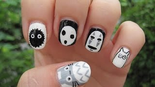 getlinkyoutube.com-Hayao Miyazaki Studio Ghibli: Totoro, No-Face, Kodama and Soot sprite nail art