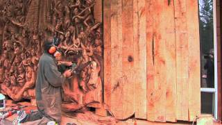 getlinkyoutube.com-J. Chester Armstrong Collaborates With Dodd Mitchell for Chainsaw Sculpture at Aria's Javier's.