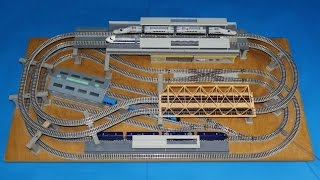 getlinkyoutube.com-N Gauge 4 train simultaneous operation small layout プラレールアドバンスNゲージ化 4列車同時運転ミニレイアウト(仮)