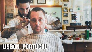 getlinkyoutube.com-HairCut Harry's Lisbon Portugal HairCut Experience at Figaros Barbershop (ASMR)