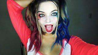getlinkyoutube.com-Maquiagem de carnaval da Arlequina/ Harley Quinn l BELEZA E TAL