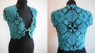 getlinkyoutube.com-how to crochet mint bolero shrug chaleco free pattern tutorial by marifu6a