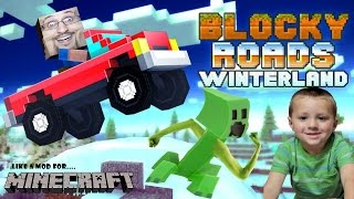 getlinkyoutube.com-Dad & Chase play BLOCKY ROADS!! Minecraft Style Off-Roading Cars Fun! (Vehicles & WINTERLAND Tracks)