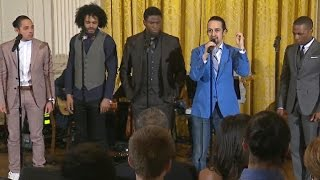 "getlinkyoutube.com-Hamilton cast performs ""My Shot"" at White House"