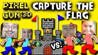getlinkyoutube.com-Pixel Gun Capture the Flag w/ Dad - Mike vs. Lex - Ethan (Multiplayer Face Cam) TWO CASTLES