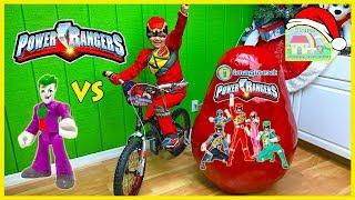 getlinkyoutube.com-BIGGEST POWER RANGERS SURPRISE EGG OPENING Huge Imaginext Megazord PowerRangers Toys Eggs Bicycle
