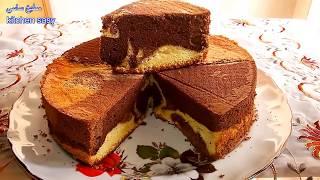 getlinkyoutube.com-الكيكه الاسفنجيه الرخاميه ( Marble Chiffon Cake) مطبخ ساسى