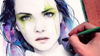 getlinkyoutube.com-【WATERCOLOR PORTRAIT】 Cara Delevingne inspired