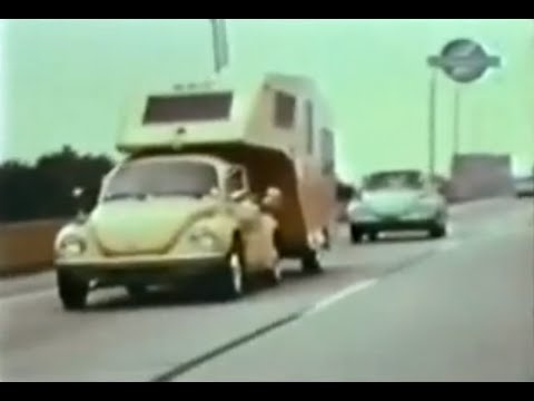 VW Beetle pulls fifth wheel travel trailer