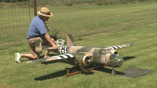 getlinkyoutube.com-Crash of Giant RC B 25 model from Ziroli plan - Maiden Flight disaster