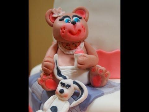 Como hacer una Osa/Oso bebé de fondant para Tarta de Bautizo, (modelado paso a paso),baby bear cake