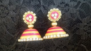 getlinkyoutube.com-Paper Quilling Jhumka with stones -  new design