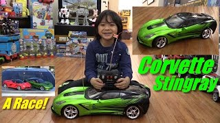 RC Toy Cars: 1:8 Scale Chevy Corvette Stingray Remote Control Unboxing and Playtime