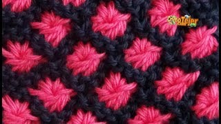 getlinkyoutube.com-Cómo Tejer Flores en Colores-How to Knit Flowers in Colors 2 Agujas(224)