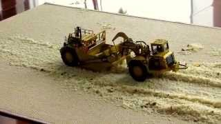 getlinkyoutube.com-RC Cat 657 Scraper Norscot 1/50 AWD 4x4 Wheel Loader Dumper Caterpillar