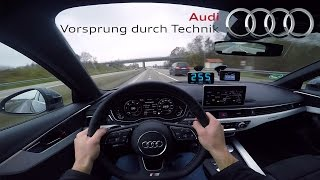 2017 Audi A4 (0-265 km/h) POV-Acceleration, Top speed TEST✔
