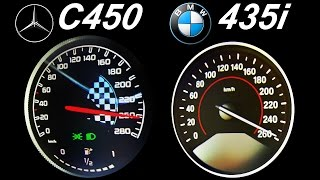 getlinkyoutube.com-BMW 435i vs Mercedes C450 Acceleration 0-250 Autobahn Top Speed Onboard Sound