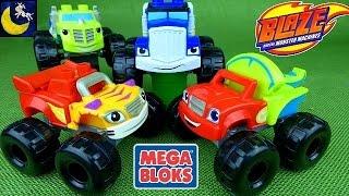 getlinkyoutube.com-Blaze and the Monster Machines Mix and Match Mega Bloks Toys Blaze, Crusher, Zeg and Stripes Toys!