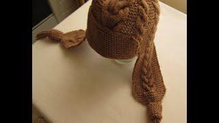 getlinkyoutube.com-ВЯЗАНИЕ СПИЦАМИ ШАПКА С УШКАМИ С УЗОРАМИ КОСЫ! Видео урок.  knitting.