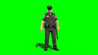 getlinkyoutube.com-Green Screen Policeman Cop Main Idle Alert - Footage PixelBoom