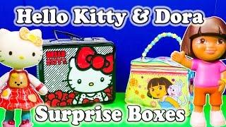 getlinkyoutube.com-DORA THE EXPLORER & HELLO KITTY Surprise Boxes Toys Surprise Egg Video