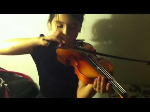 Noila tuning her school violin