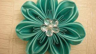 getlinkyoutube.com-Красивый цветок Канзаши из Лент. Своими руками. / DIY Flowers