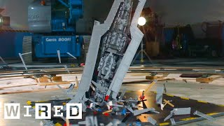 getlinkyoutube.com-Giant Star Wars LEGO Super Star Destroyer Shattered at 1000 fps | Battle Damage