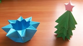 getlinkyoutube.com-Новогодние Поделки Своим Руками Из Бумаги. Елочка и Коробочка Звезда. Christmas Tree ans Star Box