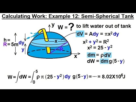 Calculus 2: Apllications - Calculating Work (13 of 16) Cal. Work Ex. 12: 1/2-Spherical Tank: 1