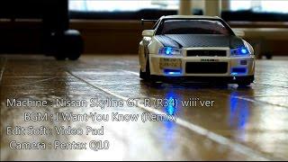 【ミニッツAWD】 - R34 GT-R DRIFT Movie - 【ラジドリ】