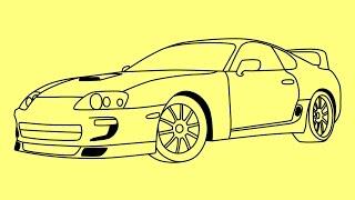 getlinkyoutube.com-How to draw Toyota Supra - Как нарисовать Тойоту Супру - Cómo dibujar Toyota Supra