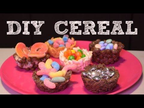 Canastitas de cereal, dulces y chocolate | DIY Platos de cereal con gomitas | Recetas fáciles