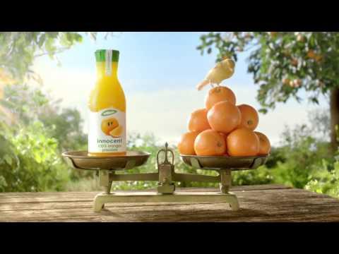 Publicité jus d'oranges pressées innocent