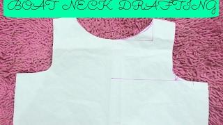 getlinkyoutube.com-Drafting Of Boat Neck | Easy DIY