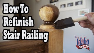 getlinkyoutube.com-How To Refinish Wood Hand Railing.  Hacks Staining Stair Spindles.
