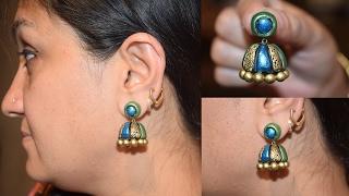 getlinkyoutube.com-Terracotta Jhumka || Terracotta Jhumka Making || Terracotta Jewellery Making Jhumka |