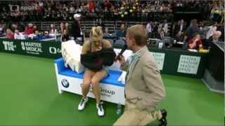 "getlinkyoutube.com-Maria Sharapova's ""injury"" during the 2012 Prague Exhibition Match"